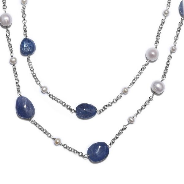 GP Freshwater Pearl, Tanzanite and Blue Sapphire Two Strand Necklace (Size 20) with Charm in Rhodium Overlay Sterling Silver 58.98 Ct