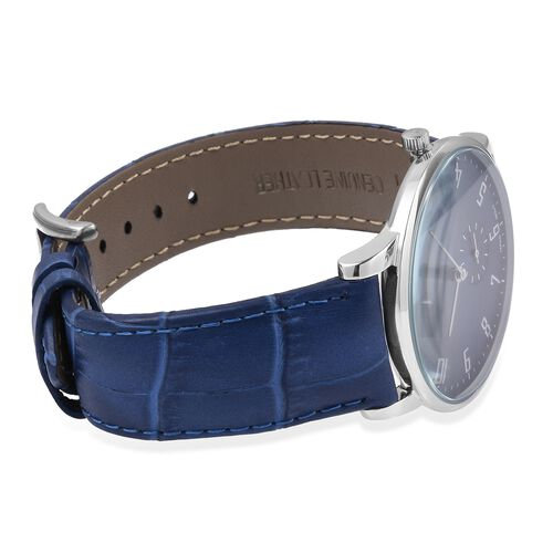 EON 1962 Japanese Movement Sapphire Glass 3ATM Water Resistant Watch in with Interchangeable Blue Colour Genuine Leather and Mesh Silver Tone Strap