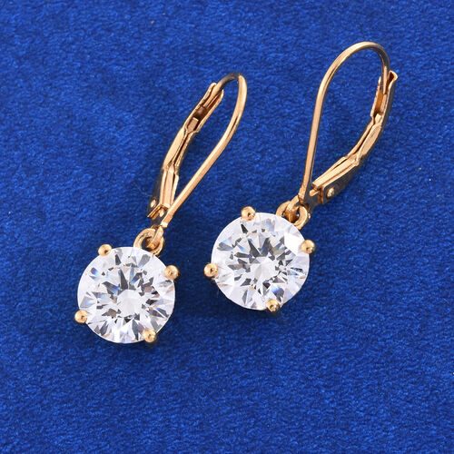 J Francis - 14K Gold Overlay Sterling Silver Lever Back Earrings Made with SWAROVSKI ZIRCONIA