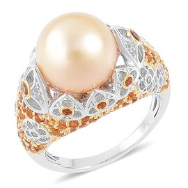 Very Rare AAA South Sea Golden Pearl (Rnd 11.5-12mm), Madeira Citrine and Natural Cambodian Zircon R