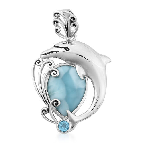 Sajen Silver - Larimar and Celestial Swiss Blue Doublet Quartz Dolphin Pendant in Sterling Silver 9.