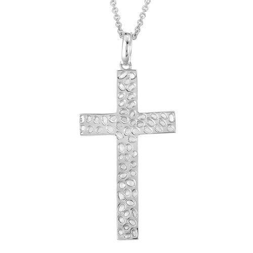 WEBEX- Rachel Galley Rhodium Plated Sterling Silver Lattice Cross Pendant With Chain, Silver wt 14.68 Gms.