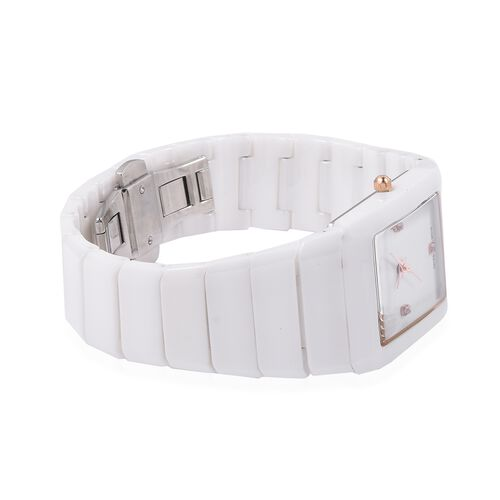 EON 1962 Swiss Movement 3ATM Water Resistant Studded Simulated Diamond Watch with White Ceramic Strap and Butterfly Buckle