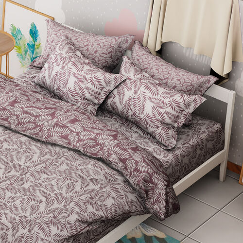 Limited Available- 3 Piece Set - Leaf Pattern Jacquard Quilt (Size 240x260 Cm) and Two Pillow Covers (Size 50x70 Cm) - White and Purple