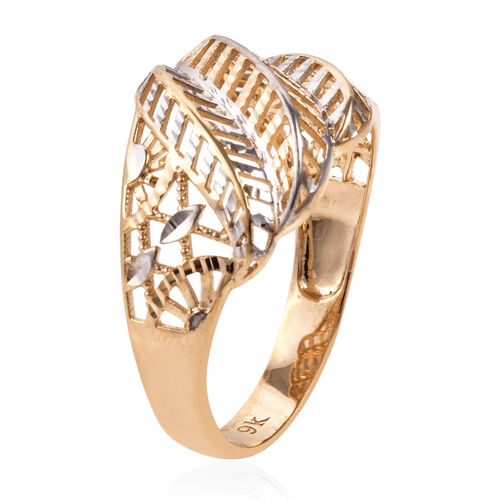 Epic Day Deal- Royal Bali Collection 9K Yellow and White Gold Diamond Cut Leaf Ring. Gold Wt 2.61 Gms