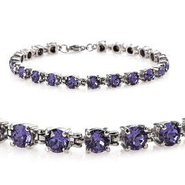 J Francis - Crystal from Swarovski Tanzanite Crystal (Rnd) Bracelet (Size 7.5) in Stainless Steel