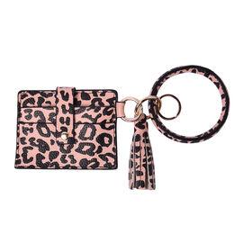 """""""Sencillez"""" Skin Tone color leopard print Genuine Leather Key Chain 11.5x9cm, card solt-2, zipped-1"""