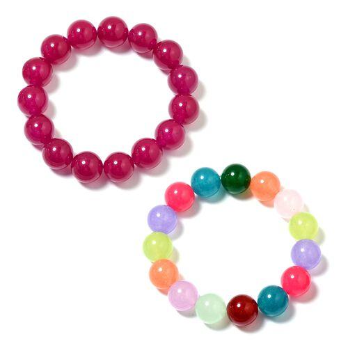 Set of 2 - Rubellite and Multi Colour Quartzite (Rnd 13-15mm) Adjustable Bracelet (Size 7) 560.200 Ct.