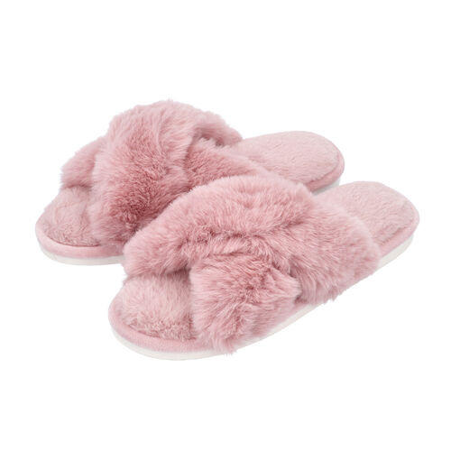 Super Soft Cross Band Faux Fur Slippers (Size L: 7-8) - Pink
