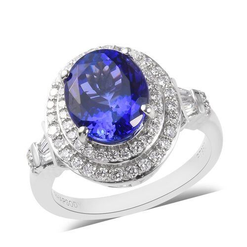 RHAPSODY 3.54 Ct AAAA Tanzanite and Diamond Halo Ring in 950 Platinum 7.50 Grams VS EF