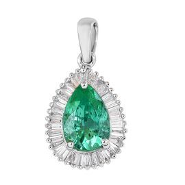 RHAPSODY 950 Platinum AAAA Boyaca Colombian Emerald and Diamond (VS/E-F) Pendant 1.28 Ct.