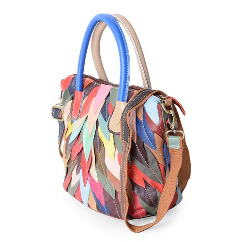 Morocco Collection 100% Super Soft Genuine Leather Feather Pattern Tote Bag with Removable Shoulder Strap (Size 31x24x21x14 Cm)