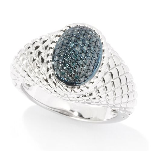 Blue Diamond Cluster Ring in Black Rhodium Plated Silver 5.20 Grams