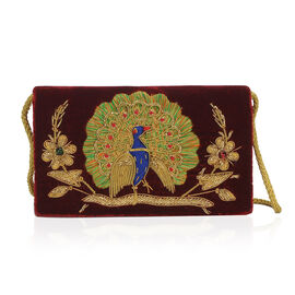 Peacock Sequence Hand Embroidered Velvet Clutch with Shoulder  Strap (Size 20.32x12.7x5.08 Cm) - Mar