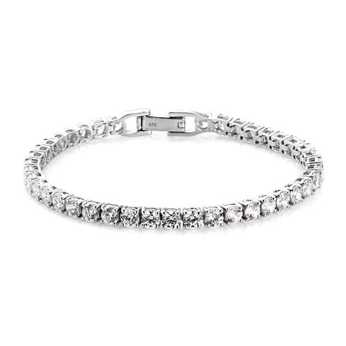 J Francis Platinum Over Sterling Silver Tennis Bracelet (Size 7.5) Made with SWAROVSKI ZIRCONIA 10.0