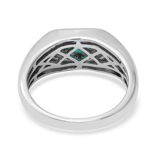 Kagem Zambian Emerald (Ovl 6x4mm), Natural Cambodian Zircon Ring  in Rhodium Overlay Sterling Silver