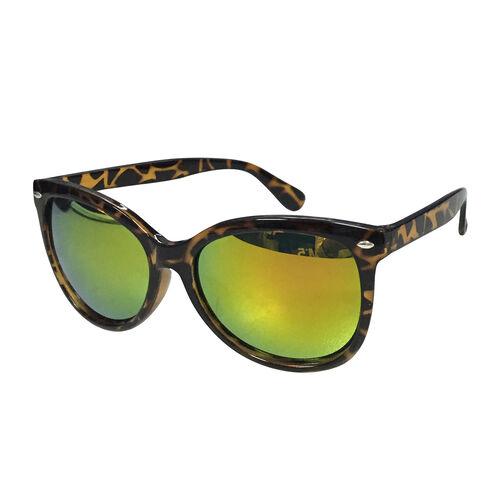 Eyecatcher Tortoise Shell Design Frame Sunglasses with Blue Mirror Finish Lens