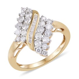 9K Yellow Gold SGL Certified Diamond (Rnd and Bgt) (I2-I3/G-H) Ring 1.000 Ct.