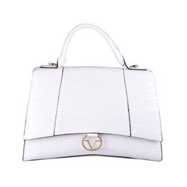 19V69 ITALIA by Alessandro Versace Crocodile Pattern Satchel Bag with Detachable Stap and Metallic Clasp Closure (Size 35x23.5x13Cm) - White