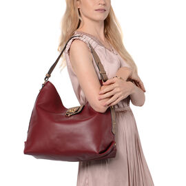 Metallic Red Tote Bag with Zipper Closure (Size 40x13x34 Cm)