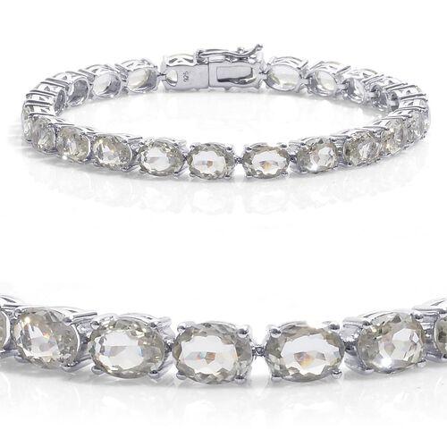 Green Sillimanite (Ovl) Tennis Bracelet in Platinum Overlay Sterling Silver (Size 8) 26.500 Ct. Silv