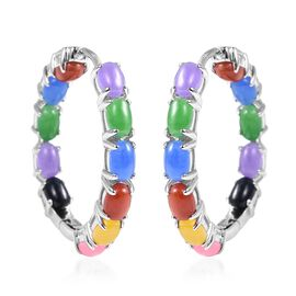 Multi Colour Jade (Ovl) Hoop Earrings (with Clasp) in Rhodium Overlay  Sterling Silver 13.60 Ct, Sil