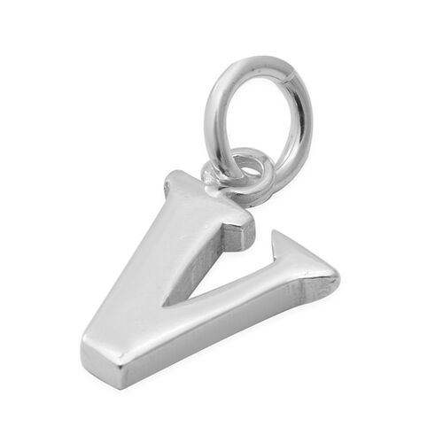 Thai Sterling Silver - Rhodium Overlay Sterling Silver V Initial Pendant
