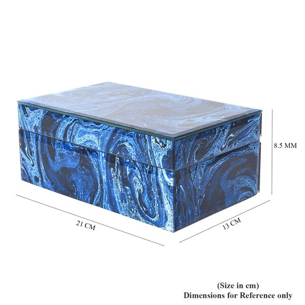 Marble Glass Jewellery Storage Box with Inside Mirror, 7 Ring Rows, 4 Necklace Hook with Pouch and 4 Sections (Size 21x13x8.5 Cm) - Blue Lapis