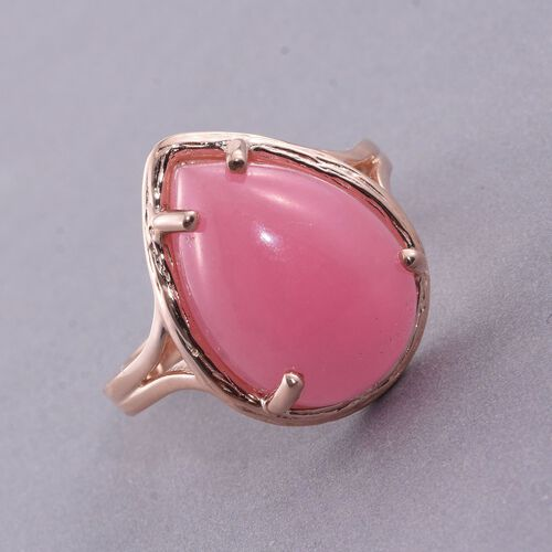 Pink Jade (Pear) Ring in Rose Gold Overlay Sterling Silver 13.000 Ct.