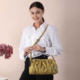 SENCILLEZ 100% Genuine Leather Snake Skin Pattern Clutch Bag with Detachable Shoulder Strap and Zipper Closure (Size 31x18.5x9 Cm) - Yellow