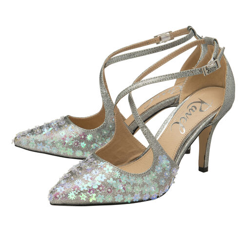 Ravel Silver Sparkle Sanson Heeled Pumps (Size 4)