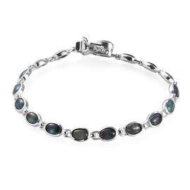 Australian Boulder Opal Bracelet (Size 7) in Platinum Overlay Sterling Silver, Silver wt. 8.25 Gms