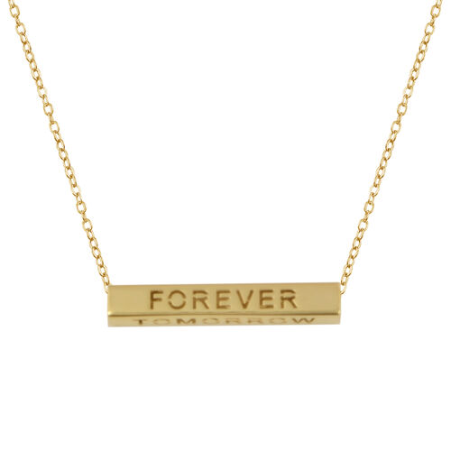 Italian Made - 9K Yellow Gold Yesterday, Today, Tomorrow & Forever Bar Cable Chain Necklace (Size 18)