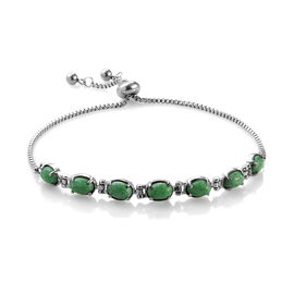 Green Howlite (Ovl) Bolo Bracelet (Size 9.5 Adjustable) in Stainless Steel 4.750 Ct.