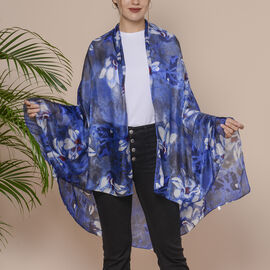 Blue and White Flower Pattern 100% Mulberry Silk Scarf (Size 175x110 Cm)