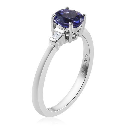 RHAPSODY 950 Platinum AAAA Tanzanite (Rnd 6mm) and Diamond (VS/E-F) Ring 1.050 Ct., Platinum wt 4.00 Gms.