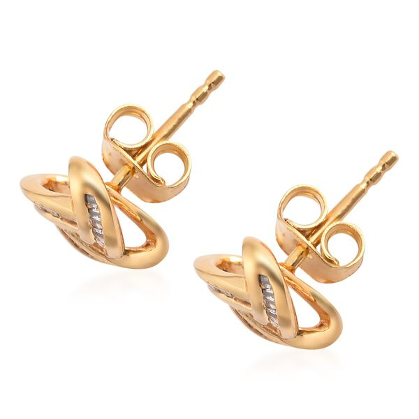 Diamond Triple Knot Stud Earrings (with Push Back) in Yellow Gold Overlay Sterling Silver 0.25 Ct.