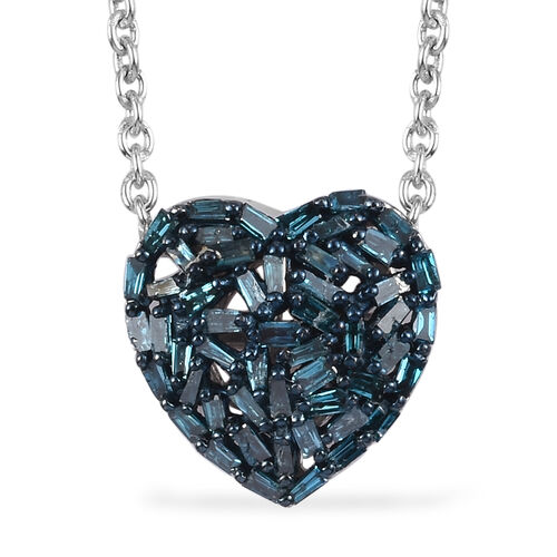 GP - Blue Diamond and Blue Sapphire Heart Pendant with Chain (Size 18) in Platinum Overlay Sterling