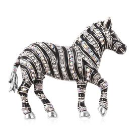 Simulated Mystic White Crystal and White Austrian Crystal Zebra Brooch in Silver Tone
