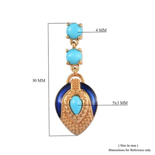 Arizona Sleeping Beauty Turquoise Enamelled Earrings (with Push Back) in 14K Gold Overlay Sterling Silver 1.50 Ct.