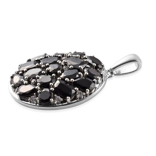 Elite Shungite and Natural Cambodian Zircon Cluster Pendant in Platinum Overlay Sterling Silver 4.65 Ct.