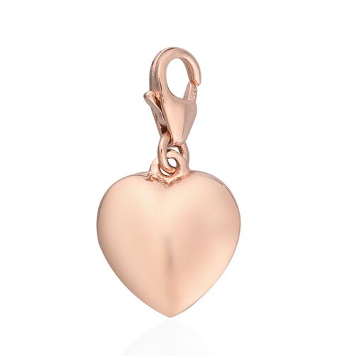 Rose Gold Overlay Sterling Silver Heart Charm