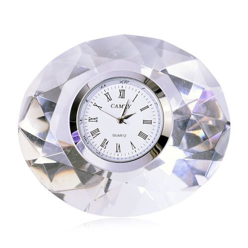 Oval Shape Faceted Crystal Table Clock with Roman Numerals (Size 8X6.5X4.5 Cm)