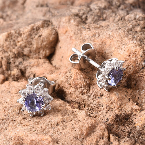 Tanzanite and Natural Cambodian Zircon Floral Stud Earrings (with Push Back) in Rhodium Overlay Sterling Silver 1.00 Ct.