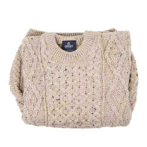 ARAN 100% Pure New Wool Irish Sweater (Size XS) - Off White