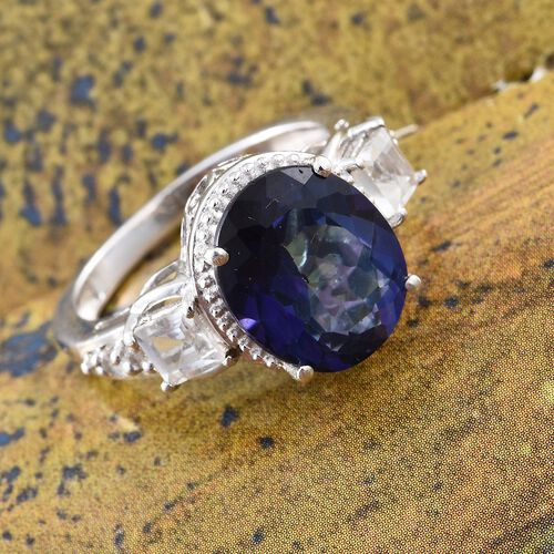 Royal Blue Topaz (Ovl 6.06 Ct), White Topaz Ring in Platinum Overlay Sterling Silver 7.250 Ct.