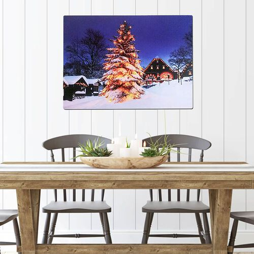 Christmas Tree 10 Warm White LED Canvas (Size 60x40 Cm) (2xAA Battery not Included)