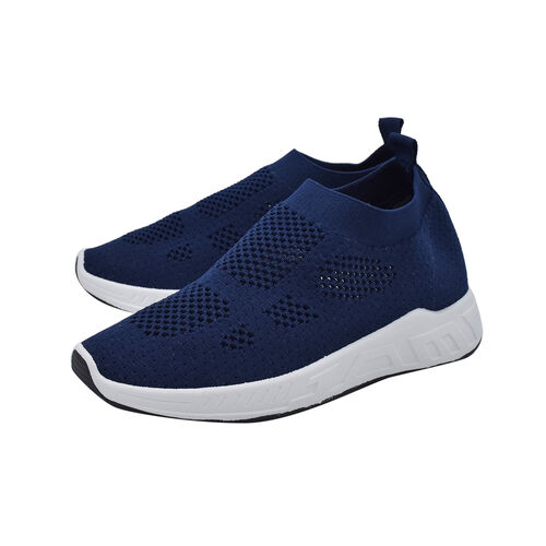DOD - Fly Knit Ankle Trainers in Navy (Size 6)