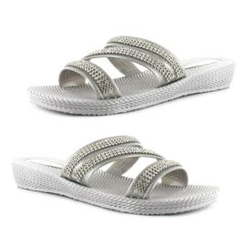 Ella Grace Diamante Slip on Sandals in Silver Colour
