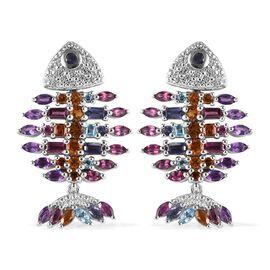 Sundays Child - Amethyst, Rhodolite Garnet and Multi Gemstone Fish Design Earrings  (with Push Back)